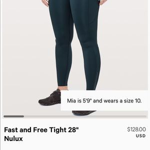 "Lululemon Fast and Free 28"" size 2"